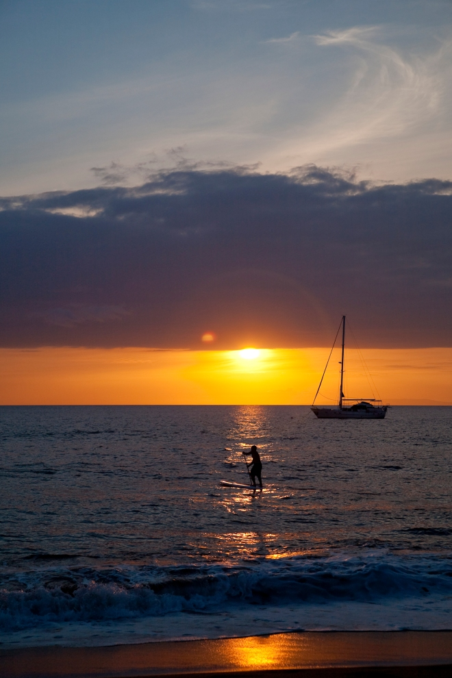Maui Sunset with Stand Up Paddler