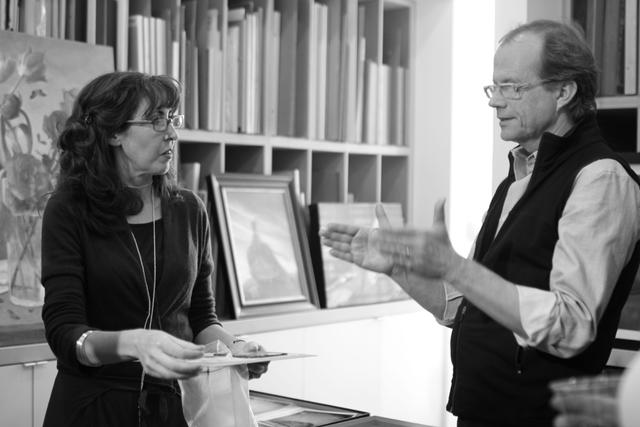 Susan and Randy discussing Lambda prints