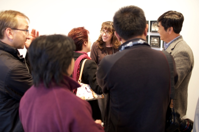Susan speaking with the entorage from the Pingyao International Photography Festival