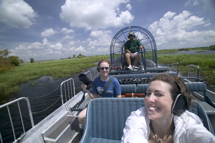 me and Chris and the crazy, chain-smoking airboat driver
