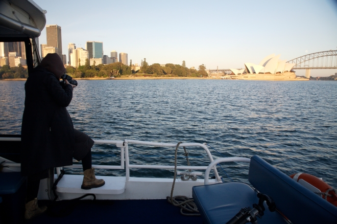 private boat, gorgeous sunrise, Sydney's famous harbour.  What's not to love?