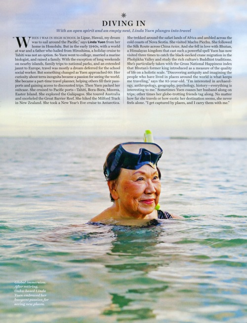 Linda Yuen, one of National Geographic Traveler Magazine's 2012 Travelers of the year photographed in the water on the island of Oahu at sunset