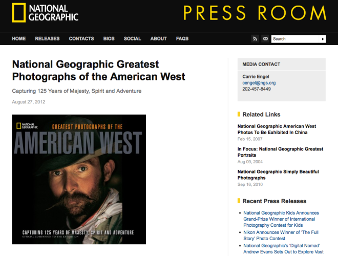 The press release page for the book, National Geographic Greatest Photographs of the American West