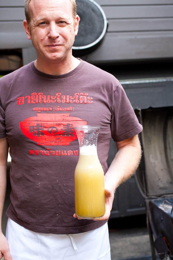 Restauranteur, Andy Ricker with freshly pressed sugar cane juice at his Portland, Oregon restaurant, Pok Pok