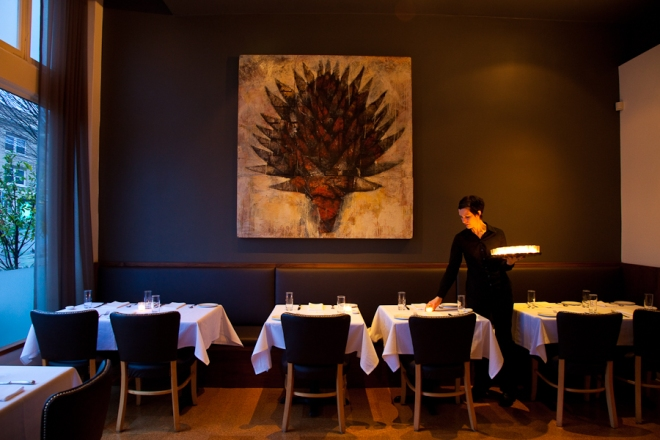 The dining room of Castagna Restaurant in Portland, Oregon
