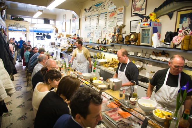 The interior of Swan's Oyster Depot in San Francisco, which often has a line out the door.