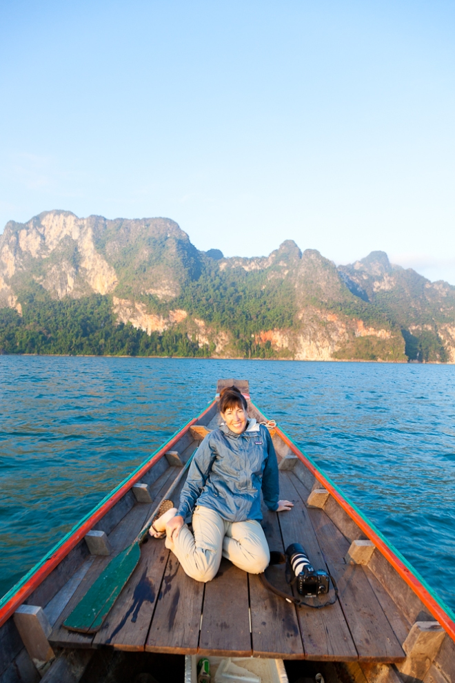Another day at the office! Taking a longtail boat back to the camp for breakfast after a dawn shoot.