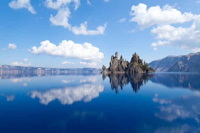 "The so called ""Phantom Ship"" geologic formation that sits inside Crater Lake"