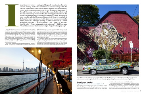 The next page, featuring photos from Kensington Market and the Center Island Ferry