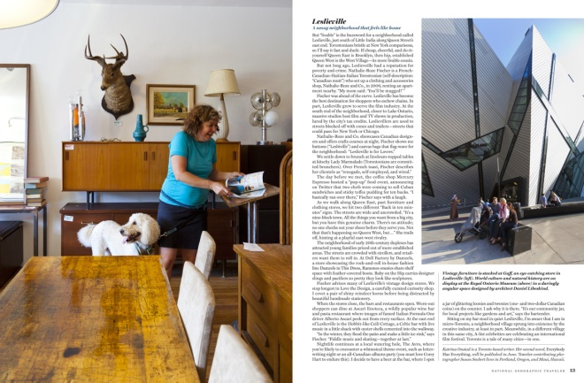 The last spread in the print magazine: Guff, a vintage furniture store in Leslieville and the Royal Ontario Museum