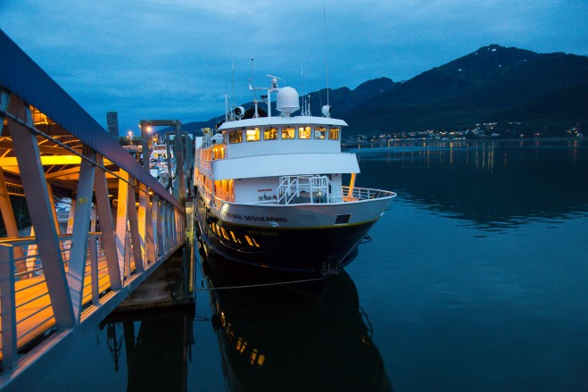The National Geographic Sea Bird docked in Juneau