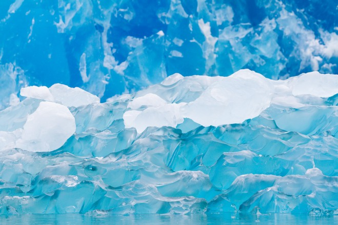 The glacial ice is incredibly blue.  We were here on an overcast day and the colors were just amazing.  Photographed with a Canon 5D Mark III 70-200mm lens