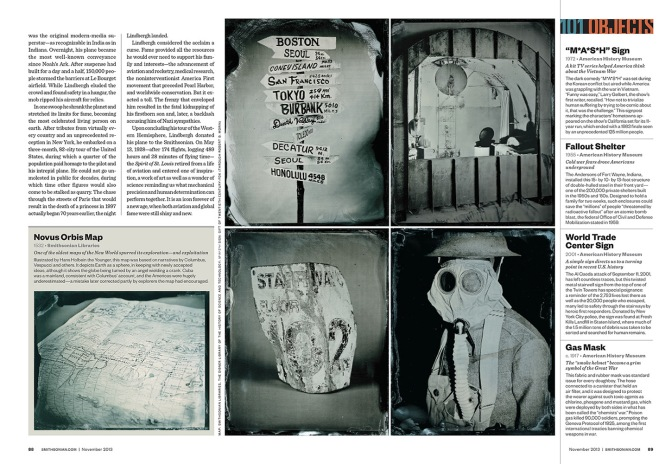 The second spread in Smithsonian Magazine where the oldest and newest objects are placed alongside a gas mask from World War I, the sign from the TV show, Mash, and a salvaged nuclear fallout shelter.