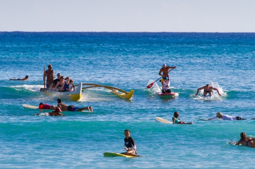 Surfing through major crowds at Waikiki, I was grateful to have a very talented driver to negotiate the waves and the surfers.