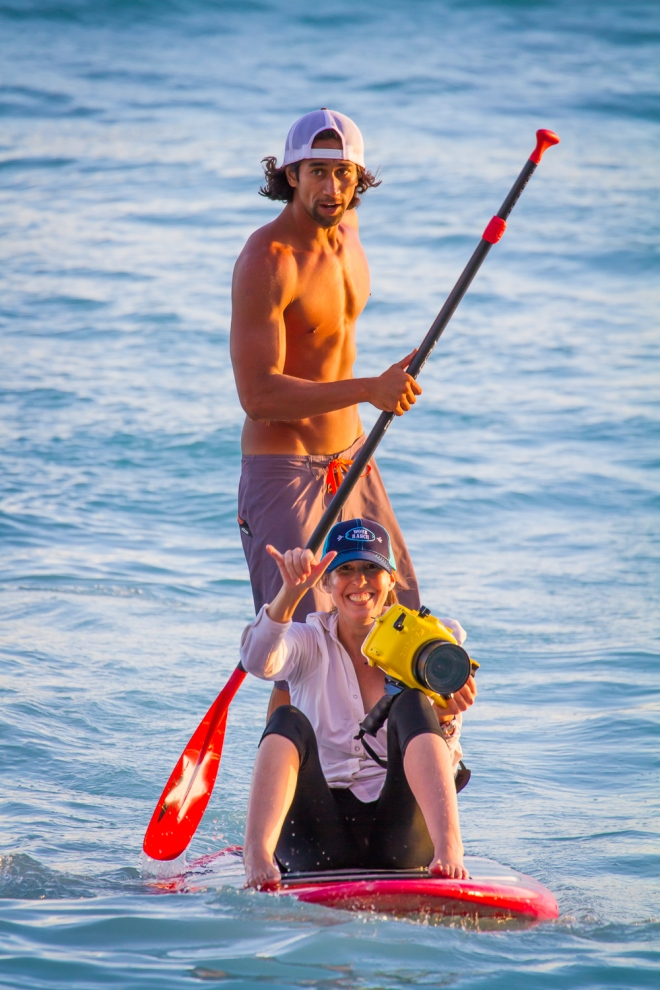Me and JP coming in at the end of our photo shoot with the outrigger canoe. Aloha!!!