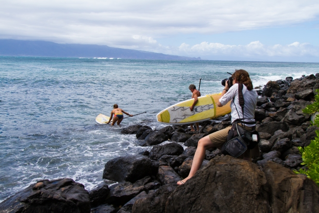 The last photo shoot set-up of the day: Julia Mancuso and her father Ciro, heading out for a SUP session.  So great!