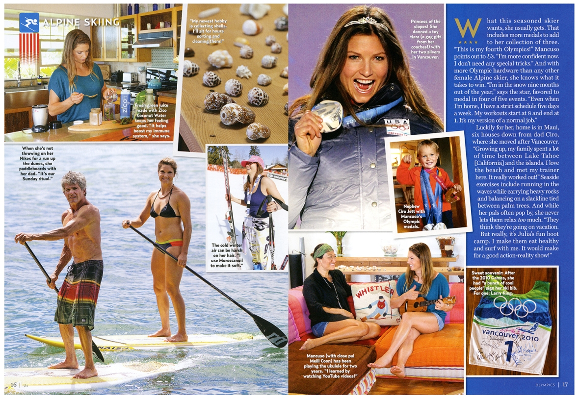 The second spread of Julia Mancuso, that includes the photo we made of her and her father stand-up paddleboarding