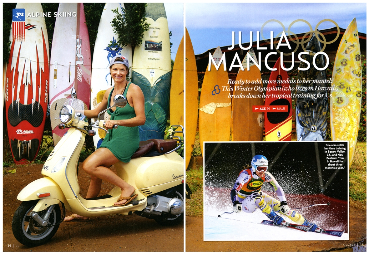 The opener of Alpine Skier Julia Mancuso in US Weekly's Olympic Issue, on newsstands now