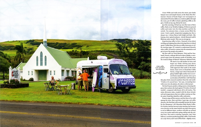 A coffee bus parked on the church lawn during the Wednesday farmers' market in Pahala where tourists and locals alike can enjoy the freshest coffee on the island
