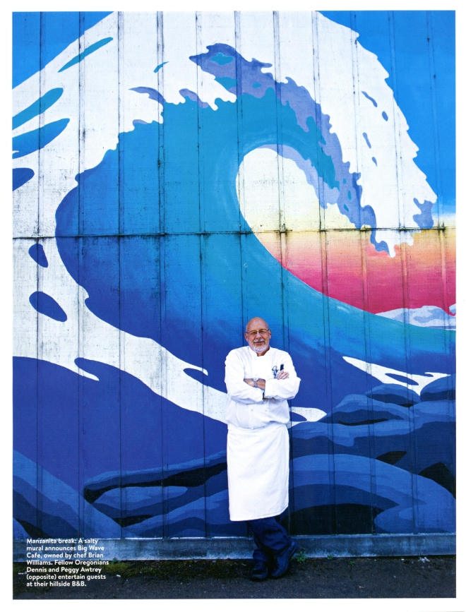 Chef Brian Williams stands outside of his restaurant The Big Wave Cafe in Manzanita, Oregon