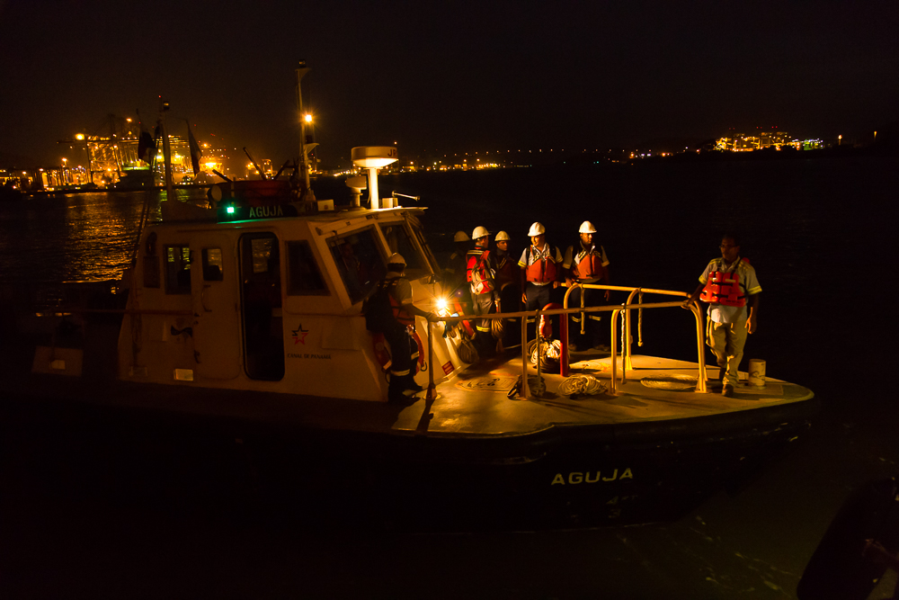 Panamanian officials joined us in order to ensure safe passage through the locks system.