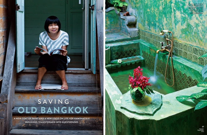 "The opening spread for the award winning photo essay, ""Saving Old Bangkok,"" for National Geographic Traveler Magazine"