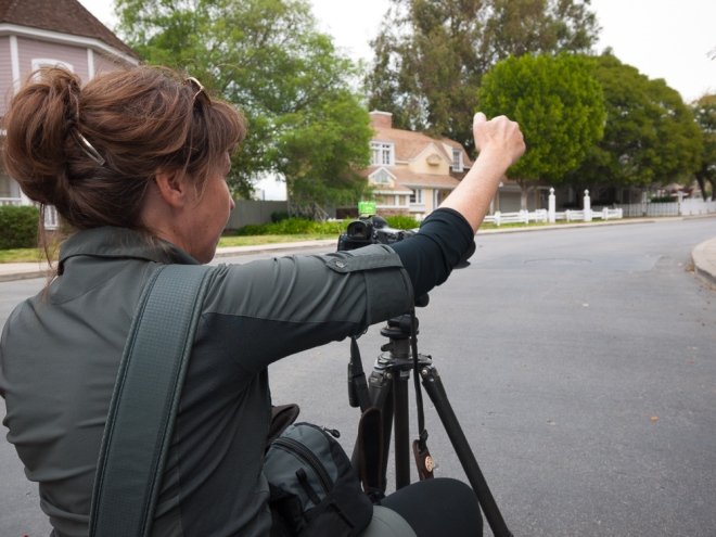 "Here is Susan framing up one of our shots on ""Wisteria Lane."""