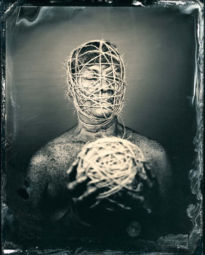 """Entwined"", 50x40"", Digital Pigment Print from Wet Plat Collodion Negative, 2015, edition of 15, signed, numbered and dated on verso, model: Twinka Thiebaud"