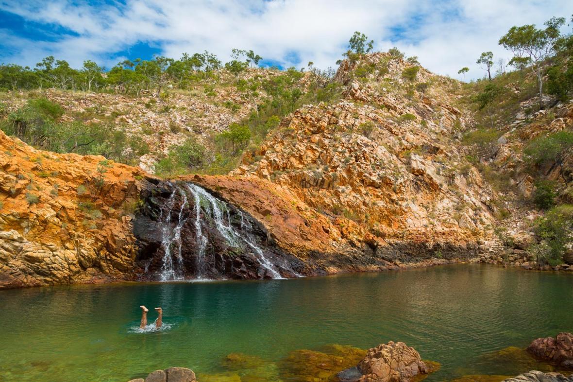 Naturalist Anthony Capogreco checks underwater for jellies and crocodiles at Crocodile Creek, The Kimberley, Western Australia