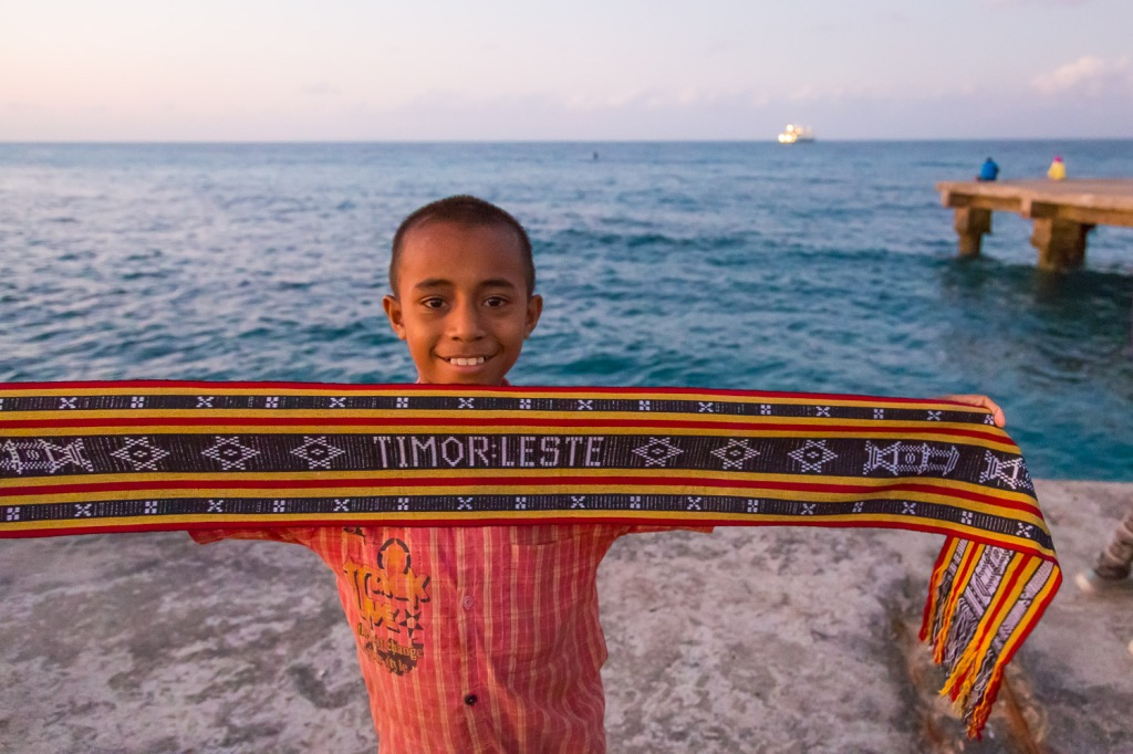 Our technical stop at Timor Leste, where the local children sold textiles to us tourists on the pier.