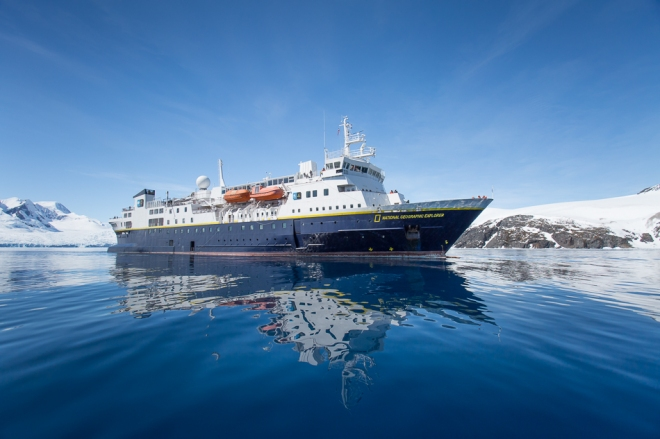 The National Geographic Explorer parked in Cierva Cove, Antarctica