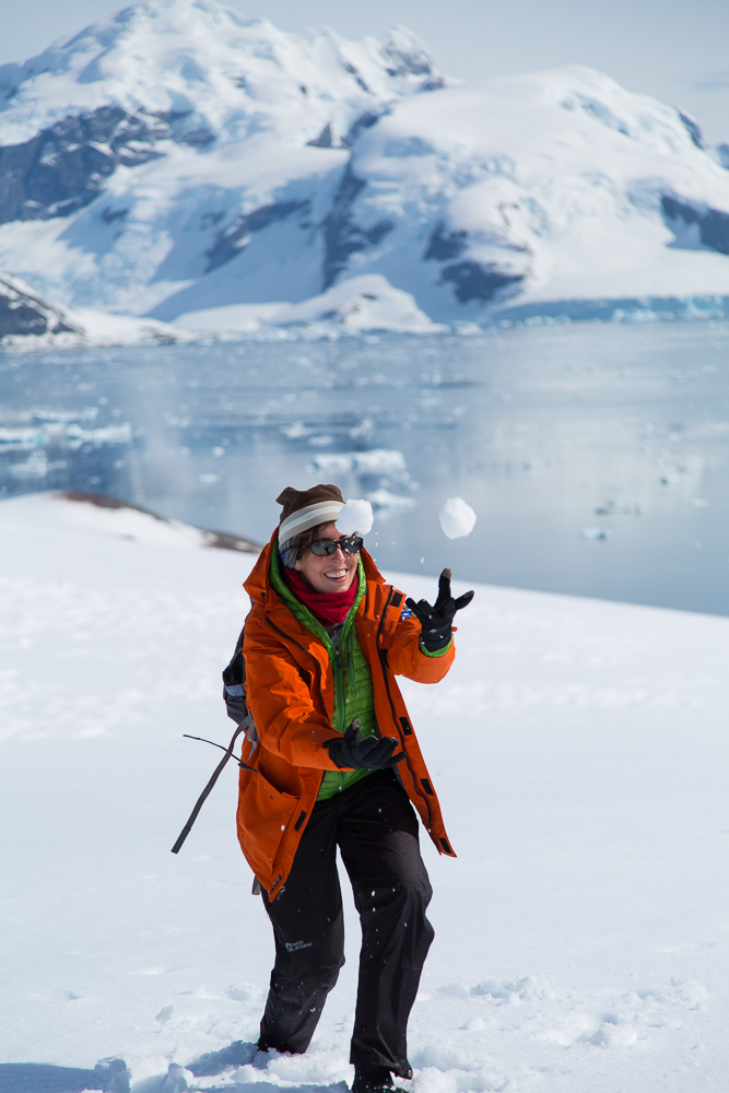Juggling snowballs at the top of the trail at Orne Harbour, Antarctica