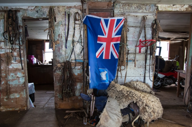 The tack room at Long Island Farm in the Falkland Islands.