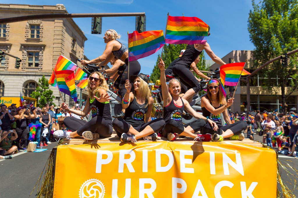 The Gay Pride Parade in downtown Portland, Oregon celebrated in remembrance of the mass shooting at the Pulse Club in Orlando, Florida