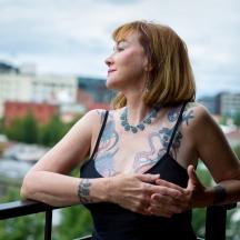 Tattoo artist MJ Haaka at her home in Portland, Oregon