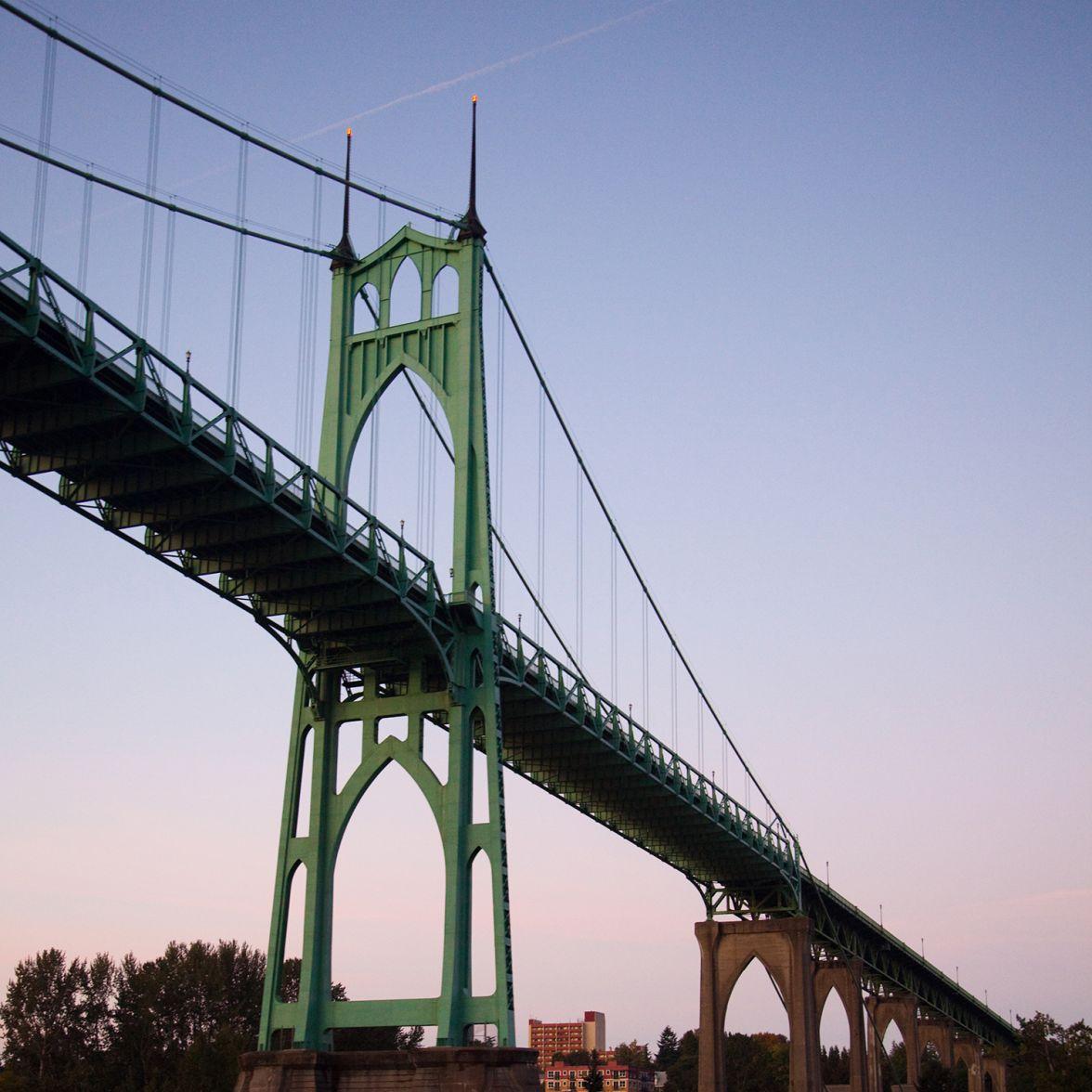 The St. John's Bridge as seen from a ship on the Willamette River in Portland, Oregon