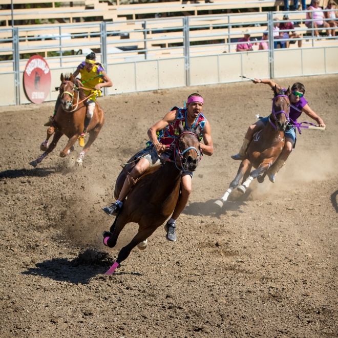 "Riders in the ""Indian Relay Race"" at the Pendleton Round Up Rodeo, Pendleton OR, USA"