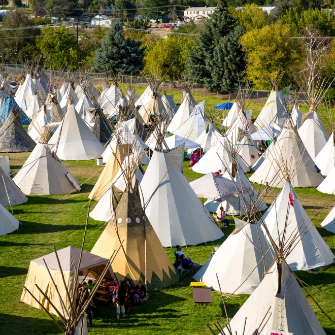 Over 300 tee pees are set up on the grounds at the Pendleton Round Up Rodeo, Pendleton OR, USA