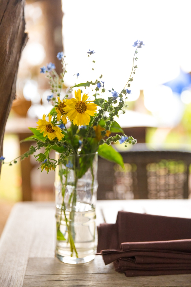 Farm flowers decorate the lunch tables at O'o Farm in Kula, Maui, Hawaii, USA