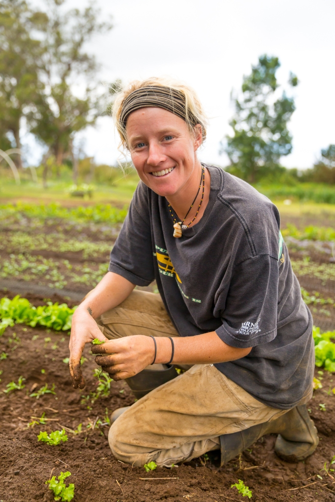 Vanessa, one of the workers at O'o Farm in Kula, Maui, Hawaii, USA