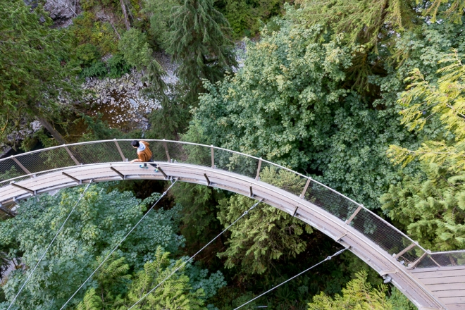Capilano Sky Walk at the Capilano Suspension Bridge Park in Vancouver, British Columbia, Canada