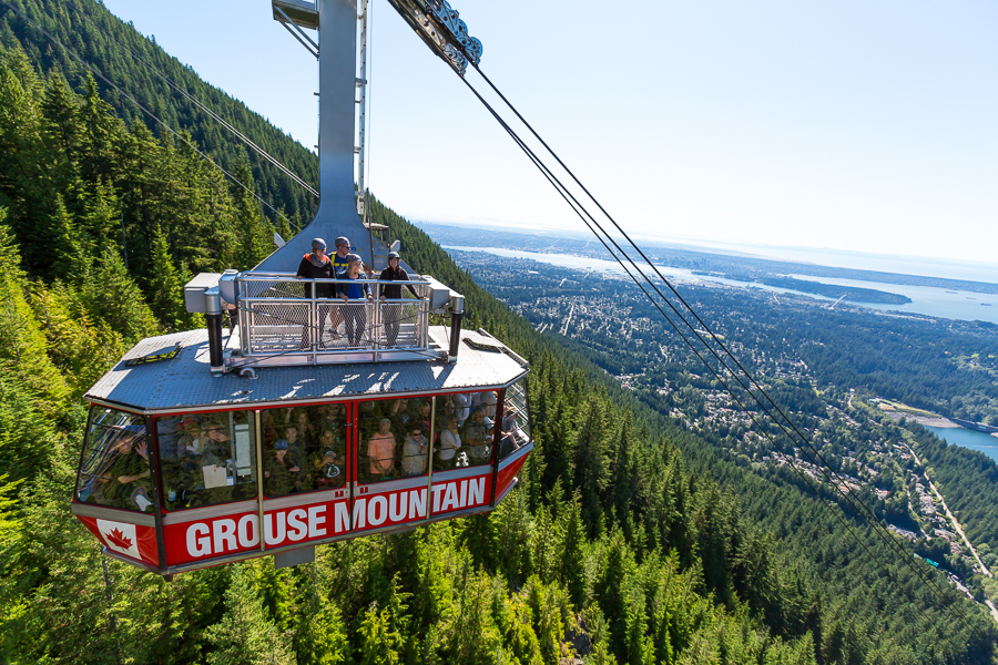 Grouse Mountain Skyride Surf Adventure is a summer opportunity to ride on top of the Grouse Mountain Gondola viewing platform as you ascend 1610 meters to the top of Grouse Mountain.  On a clear day, you can see for miles and your view will include all of