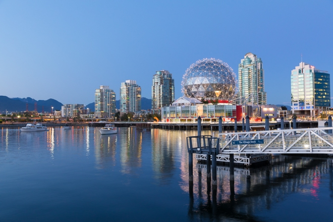 The view of the the Southeast False Creek Olympic Plaza in Vancouver, British Columbia, Canada.  Formerly an industrial site, the Olympic Village is North America's first LEED Platinum community, designed developed and constructed by Peter and Shahram Mal