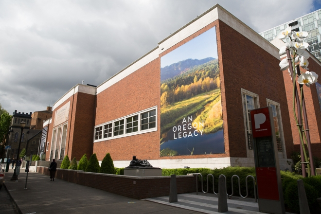 "Banner of John Yeon's Shire, photograph by Susan Seubert, hanging on the exterior of the Portland Art Museum for the exhibition, ""Quest for Beauty"""