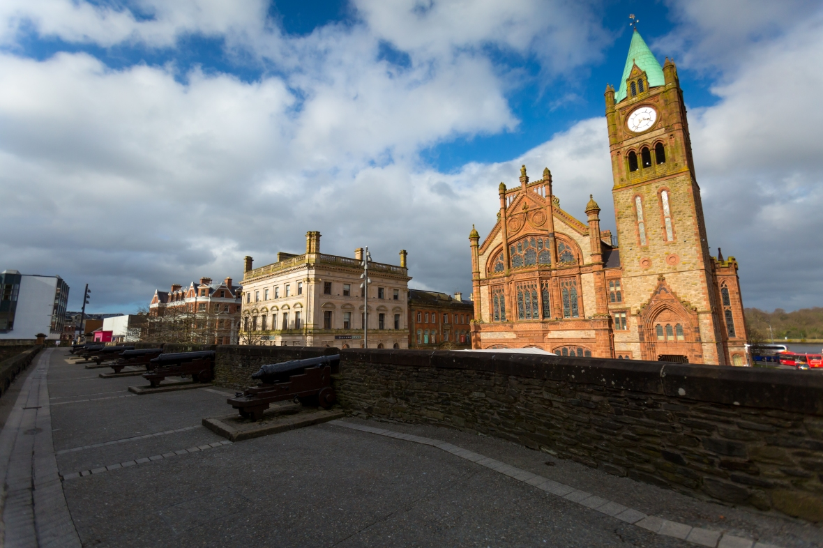 Built in 1890, The Guildhall in Derry, County Londonderry, Northern Ireland, is a building in which the elected members of Derry and Strabane District Council meet.