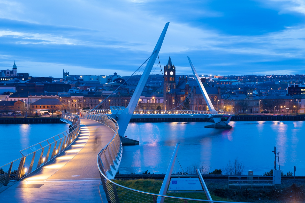 The Peace Bridge that spans the River Foyle and joins Ebrington, to Derry, (Londonderry), Ireland